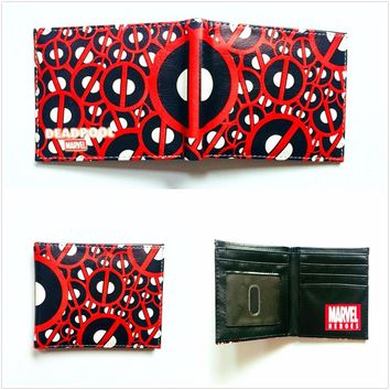 Marvel Comics Deadpool Purse Leather Wallets Men portemonnee Super Hero DeadPool Anime Card Holder Bags Folded Short Wallet W983