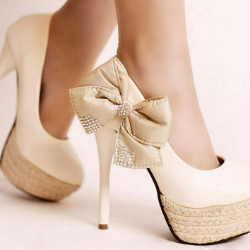 White Size39 Stilettos Super High Heels Ankle Butterfly Knot Women Shoes