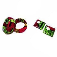 Green And Pink Ankara Print Bangles And Earring set