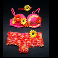 EDC, rhinestone & daisy Rave, Hippie, costume, dance, festival, neon pink, orange and yellow lace decorated outfit with headband