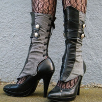 Herringbone and Leather Spats with Gathers by EidoL on Etsy