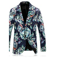 Men Floral Blazer Flower Print Blazer Prom Blazers Stage Costumes For Singers Casual Suit Jacket