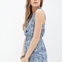 Tribal Print Surplice Dress
