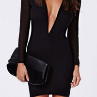 Black Mesh Sleeve V-Neck Bodycon Dress
