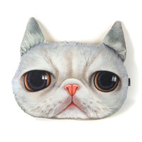 White Big Eyes Cat Cushion