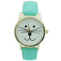 Ladies Cat Leather Watch 35mm Mint - CLEARANCE