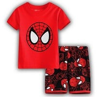 TOP QUAITY NEW Arrive Summer Baby Kids Boys RED T-shirt and Shorts 2pcs Clothes Set Home Wear Pajamas Sleepwear Suit