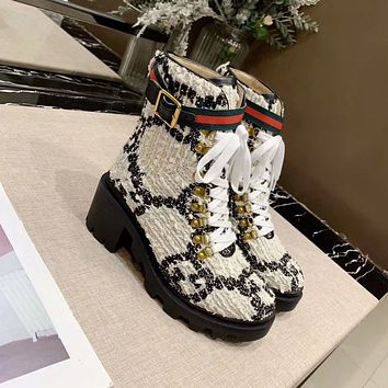 Fashion  Trending Women's Black Leather Side Zip Lace-up Ankle Boots Shoes High Boots