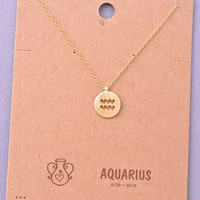Dainty Circle Coin Aquarius Zodiac Symbol Necklace - Gold, Silver or Rose Gold