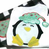 Baby Boy Christmas, Baby penguin, First Christmas, Baby Holiday Outfit, Size 6-12 Month Boy, Santa Penguin,