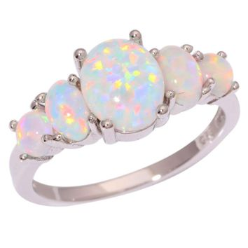 Ladies Silver Plated White Fire Opal Ring