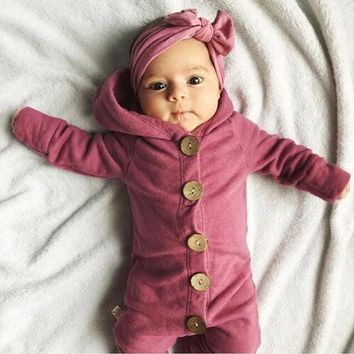 Newborn Infant Baby Boy Girl Kids Cotton Hooded Romper Jumpsuit Clothes Outfit