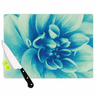 "Graphic Tabby ""Blue Beauty"" Teal Floral Cutting Board"