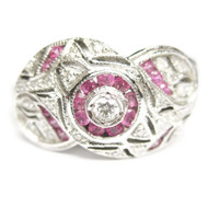 14K White Gold Pink Ruby and Diamond Halo Ring Size 7.5