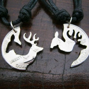 Buck and Doe Quarter Necklace Browning Deer Puzzle by EdieBaron