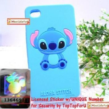 Licensed 3D Japan Disney Stitch Blue iPhone 4 4G 4S Soft Silicone Protective Back Case cover