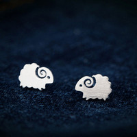 925 sterling silver tiny sheep earrings,personalized cute sheep earrings ,a perfect gift