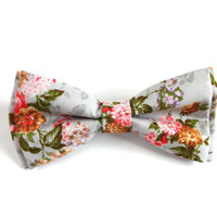Floral Bow Tie with Grey Background and Rose, Green, and Yellow Flower Pattern, Man Bow Tie, Bow tie with Flowers