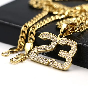 316L Stainless Blinged Out Number 23 Charm Pendant w/ 4mm Miami Cuban Chain