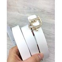 Dior Tide brand simple wild female letter button belt White
