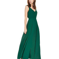 Green V-neck Sleeveless Chiffon Maxi Dress