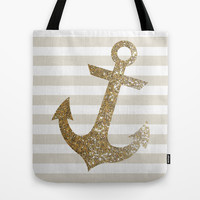 GLITTER ANCHOR IN GOLD Tote Bag by colorstudio