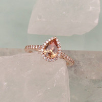 Pear Shape Sunset Peach Champagne Sapphire 14k Rose Gold Diamond Halo Engagement Ring and Rose Gold Wedding Band