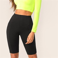 Black Solid High Waist Solid Cycling Athleisure Crop Fitness Short Leggings Women Ladies Basics Workout Leggings