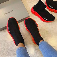 Balenciaga Sock Boots Woman Men Fashion Breathable Sneakers Running Shoes Red