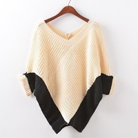 Patchwork Knit Winter Batwing Sleeve V-neck Pullover Plus Size Sweater [9101520071]