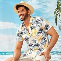Fashion Men Tropical Print Curved Hem Hawaiian Shirt
