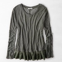 AEO LACE DISTRESSED SWEATER