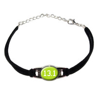 13.1 on green - half marathon - runner Novelty Suede Leather Metal Bracelet