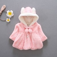 Trendy Baby Infant Girls clothing Winter Warm Coat Cloak Jacket Thick Warm kids girl Clothes Baby Girl Cute Hooded baby Coats Outerwear AT_94_13