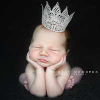 Newborn vintage inspired silver crown. Photography prop for baby, infant, child. SKU: Majestic