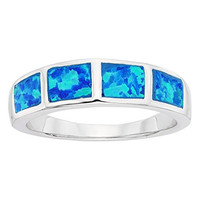 Sterling Silver Created Blue Opal Band Ring (Size 7) Available in sizes 6 - 7 - 8 - 9