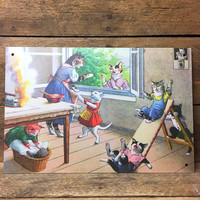 """Cat Mom Gossiping While Kittens Play Tin Sign 6"""" x 9"""""""