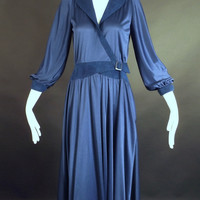 1970s Navy Knit & Ultra Suede Wrap Dress, Bust-36