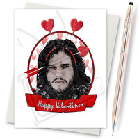 Game Of Thrones. Jon Snow. Game Of Thrones Gift. Funny Valentine Card. Boyfriend Gift. Funny I Love You. Valentine For Her. Happy Valentine