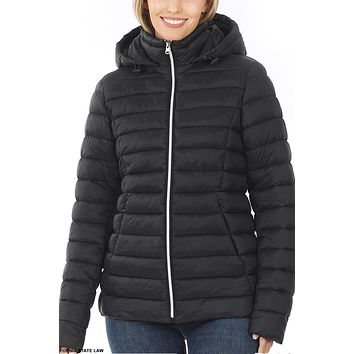 Ultra Soft Long Sleeve Padded Puffer Jacket with Removable Hoodie