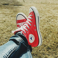 Converse All Star Sneakers canvas shoes for women sports shoes high-top red