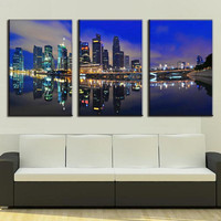 3 Pieces Canvas Painting Modern City In The Night Canvas Prints Decorative Picture Wall Pictures for Living Room Home Decoration