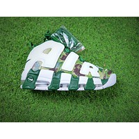 Bape x Nike Air More Uptempo OG Basketball Shoes White Gren Camo Sneaker