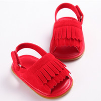 Cherry Red- Pu Fringe Sandals