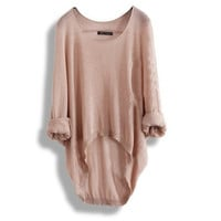 Apricot Batwing Sleeve Loose Asymmetric Casual Sweater for Women = 1920446532