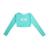 """AH HA"" Cropped Rash Guard (Sky Blue) 