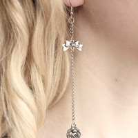 Dangling Rose Earrings with Little Bow