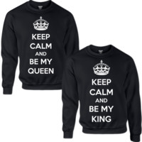 KEEP CALM AND BE NY QUEEN KEEP CALM AND BE MY KING COUPLE SWEATSHIRT