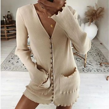 2020 New Women Fashion Long Sleeve V-Neck Breasted Dress