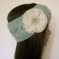 Mint Green Cable Knit Ear Warmer Headband Head Wrap Winter Hats Accessories with Ivory Chiffon Flower with Pearl and Rhinestone Accent